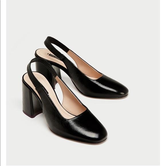 Zara Shoes | Leather Block Heel